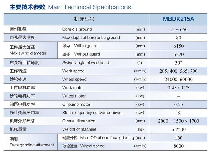 数控内圆磨床MBDK215A参数